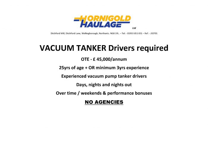 Tanker Driver Advert